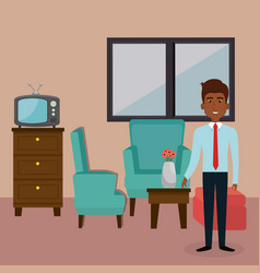 Young man in the living room character scene vector