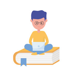 young student boy with laptop sitting on book vector image