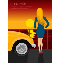 young woman standing on seafront vector image