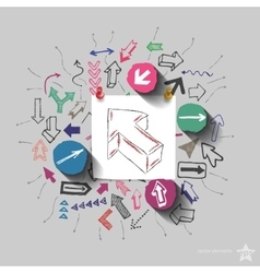 Arrows collage with icons background vector image