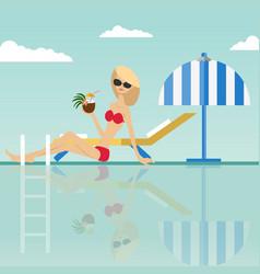fashion woman sitting at swimming pool vector image