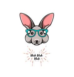 portrait of rabbit in glasses smart bunny geek vector image