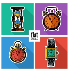 Set of sketch hand drawn clocks Flat icons vector image vector image