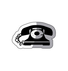 sticker black silhouette old phone design with vector image