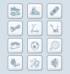 summer fitness icons - tech series vector image vector image