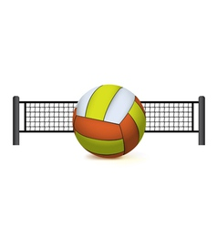 Volleyball and net isolated on white vector