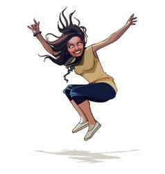 cartoon happy girl with long hair jumping vector image vector image
