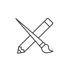 crossed pencil with paint brush vector image vector image
