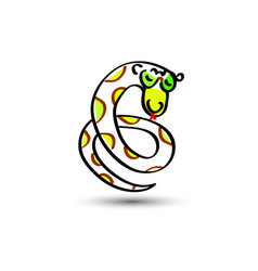green snake painted in a child s flat style vector image