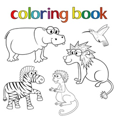 Kit of animals for coloring book vector image