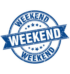 weekend round grunge ribbon stamp vector image vector image