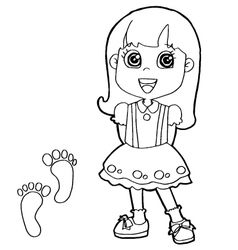 kid with paw print Coloring Pages vector image