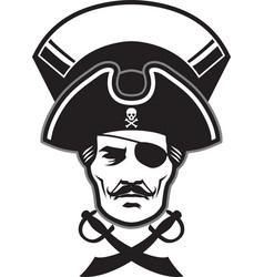 pirate captain head mascot vector image vector image