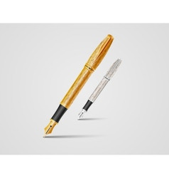 realistic fountain pen icons vector image vector image