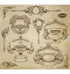 Set of vintage elements ribbons and emblem vector image