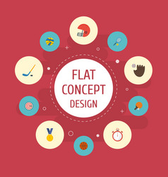 Flat icons table tennis rocket puck and other vector