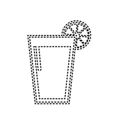 glass of juice icons black dashed icon on vector image
