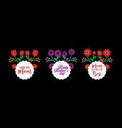 round labels decorative flowers black background vector image