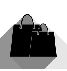 shopping bags sign black icon with two vector image