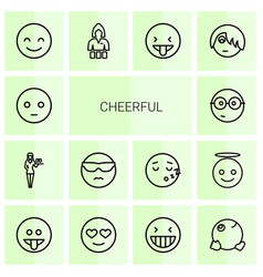 14 cheerful icons vector
