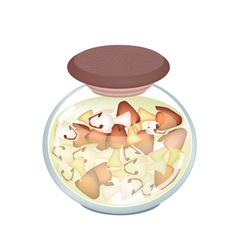 A Jar of Delicious Marinated Straw Mushrooms vector
