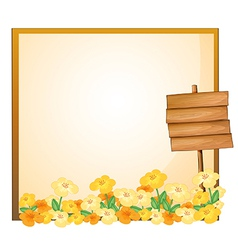 An empty template with a wooden signage vector image vector image