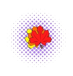 Autumn leaves icon pop-art style vector image