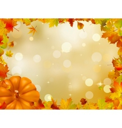 autumn pumpkins and leaves eps 8 vector image