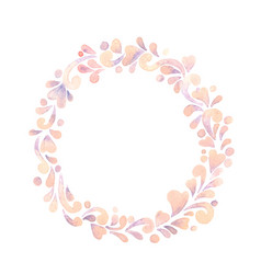 Baby pink heart with abstract ivy plant wreath vector