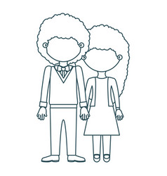 Blue contour faceless curly couple woman with vector