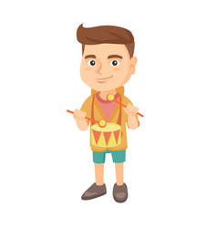 cheerful caucasian boy playing the drum vector image