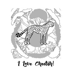 Cheetah and savanna trees print vector