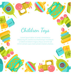 chidren toys banner with place for text in vector image