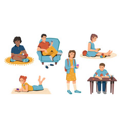 children with smartphone isolated kids and mobile vector image