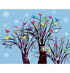 Christmas background with trees birds and snow vector