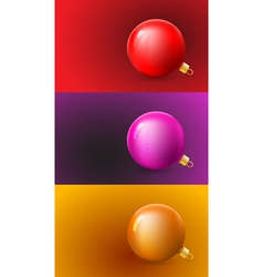 Christmas Cards Set with Balls vector image