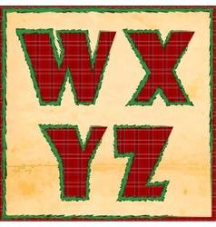 Christmas letters wxyz vector image