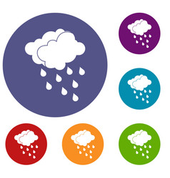Clouds and water drops icons set vector