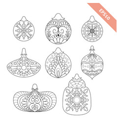 collection black line ornate christmas ball vector image