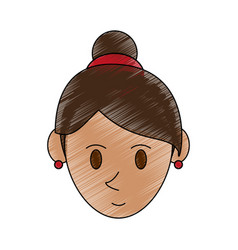 Color pencil cartoon face woman with collected vector