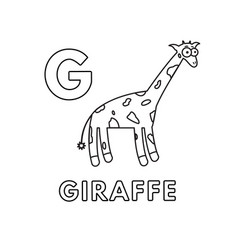 cute cartoon animals alphabet giraffe vector image