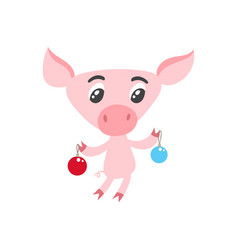 cute cartoon pig with christmas balls isolated on vector image