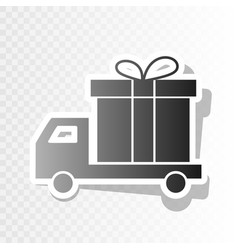 delivery gift sign new year blackish icon vector image