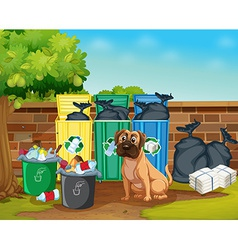 Dog and trashcans vector