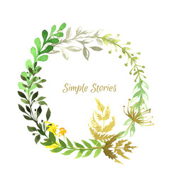drawn herbs and flowers wreath background vector image