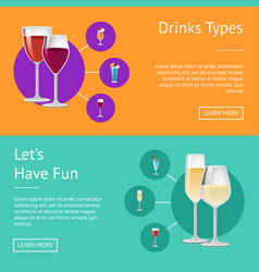 drinks types lets have fun cocktails web posters vector image