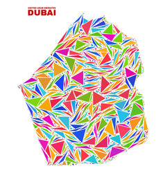 Dubai emirate map - mosaic of color triangles vector