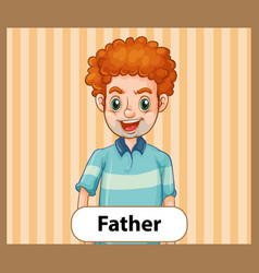 Educational english word card father vector