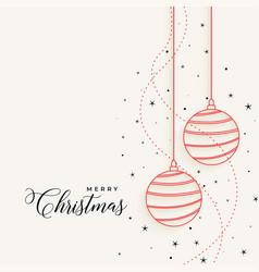 elegant christmas hanging line balls with stars vector image
