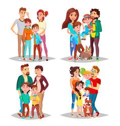 family portrait set parents children in vector image